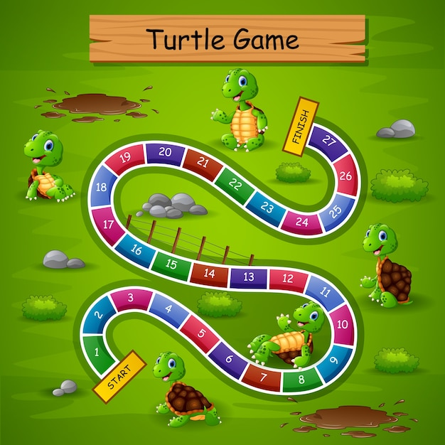 Snakes ladders game turtle theme Premium Vector