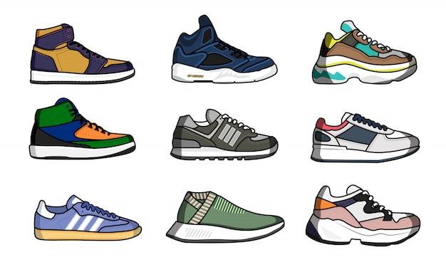 Sneakers schoenen set. geïsoleerde man sneakers schoenen met schoenveters collectie. sport schoenen mode ontwerp vectorillustratie Premium Vector