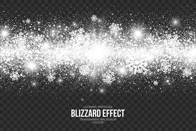 Sneeuw blizzard-effect op transparante achtergrond Premium Vector
