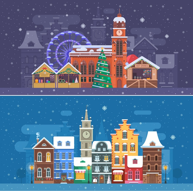 Sneeuw stadslandschappen met winter europa stad en kerstmarkt. Premium Vector