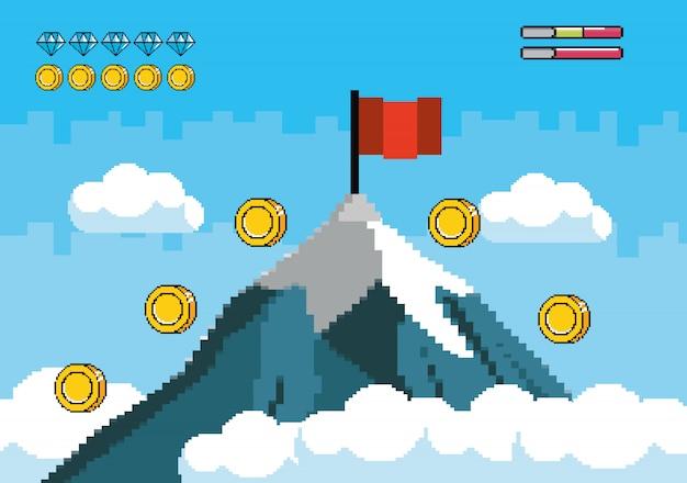 Sneeuwberg met rode vlag en muntstukken Gratis Vector