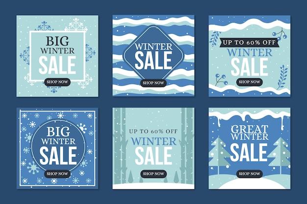 Sneeuwgolven van de post van de de winterverkoop instagram Gratis Vector