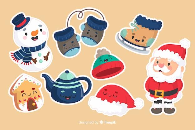 Sneeuwman en kerstman kerst sticker collectie Gratis Vector