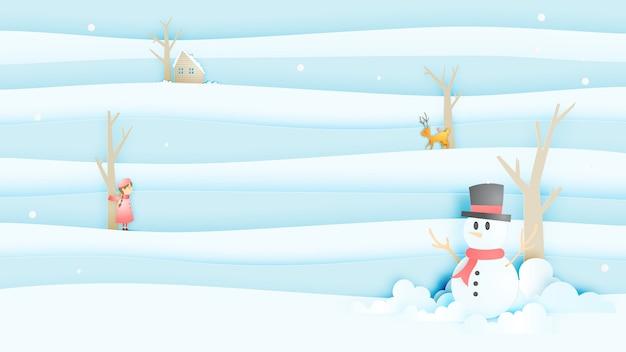 Sneeuwman en schattig meisje en lieve met sneeuwlandschap in papier kunststijl Premium Vector