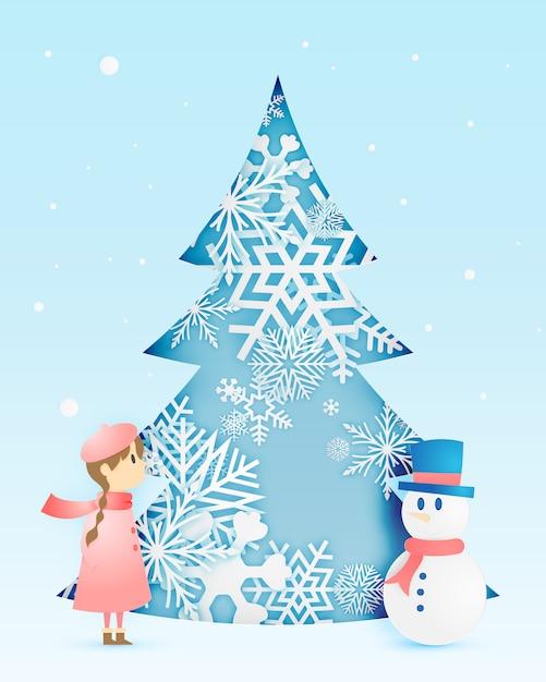 Sneeuwman en schattig meisje met sneeuwvlok in papier kunststijl Premium Vector