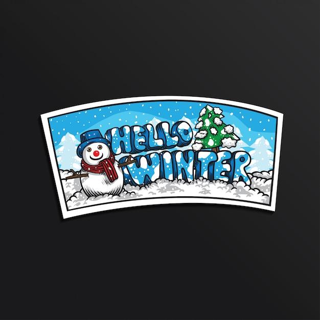 Sneeuwman hello winter illustratie sticker Premium Vector
