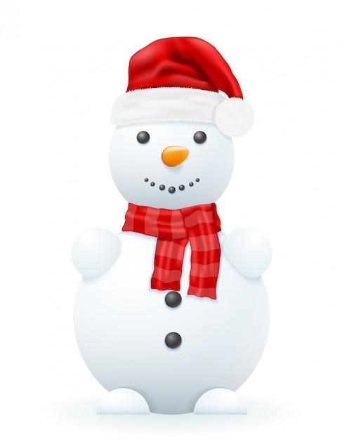 Sneeuwman in een rode hoed vectorillustratie van de kerstman Premium Vector