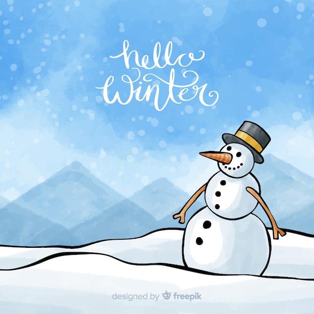 Sneeuwman winter aquarel achtergrond Gratis Vector
