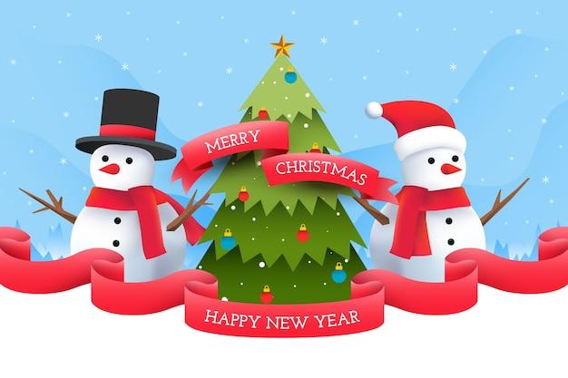 Sneeuwmannen met kerstboom achtergrond Gratis Vector