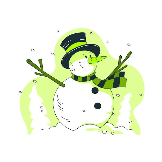 Sneeuwpop concept illustratie Gratis Vector