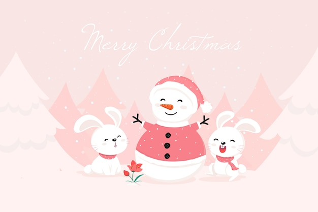 Sneeuwpop die de kleren en konijntjes van santa draagt Gratis Vector
