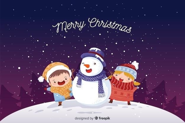 Sneeuwpop kerst achtergrond Gratis Vector