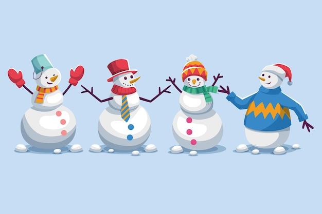 Sneeuwpop-tekencollectie in plat ontwerp Gratis Vector