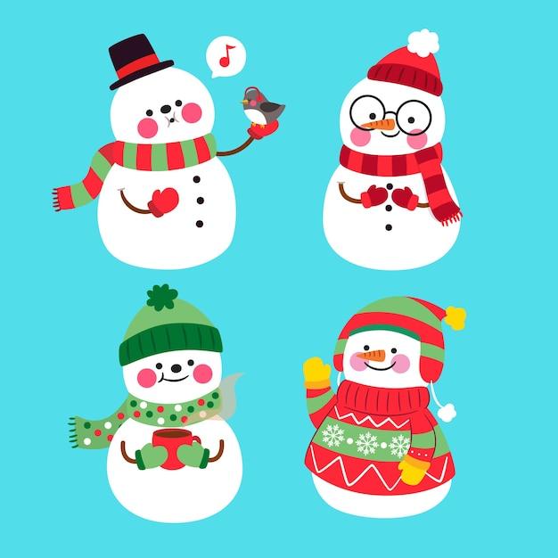 Sneeuwpop tekensverzameling in plat ontwerp Gratis Vector
