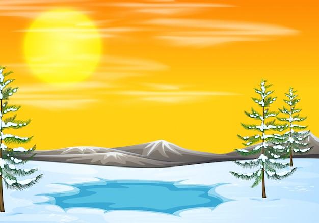 Sneeuwscène bij zonsondergang Premium Vector