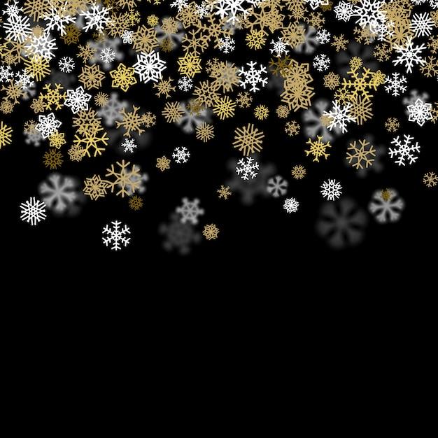 Sneeuwval achtergrond met gouden sneeuwvlokken wazig in het donker Premium Vector
