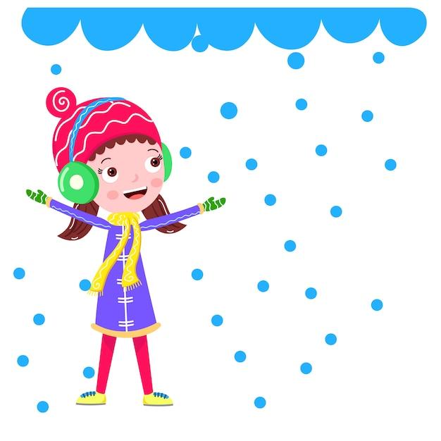 Sneeuwval in de winter een meisjes cartoon vector Premium Vector