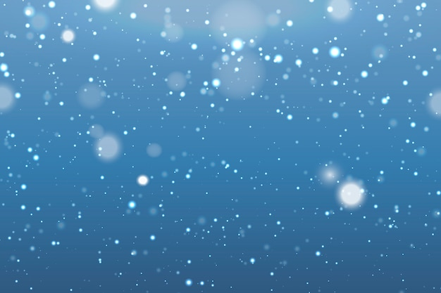 Sneeuwval realistische achtergrond met vage sneeuwvlokken Premium Vector