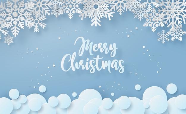 Sneeuwvlok in wintertijd met tekst vrolijke kerstmis Premium Vector