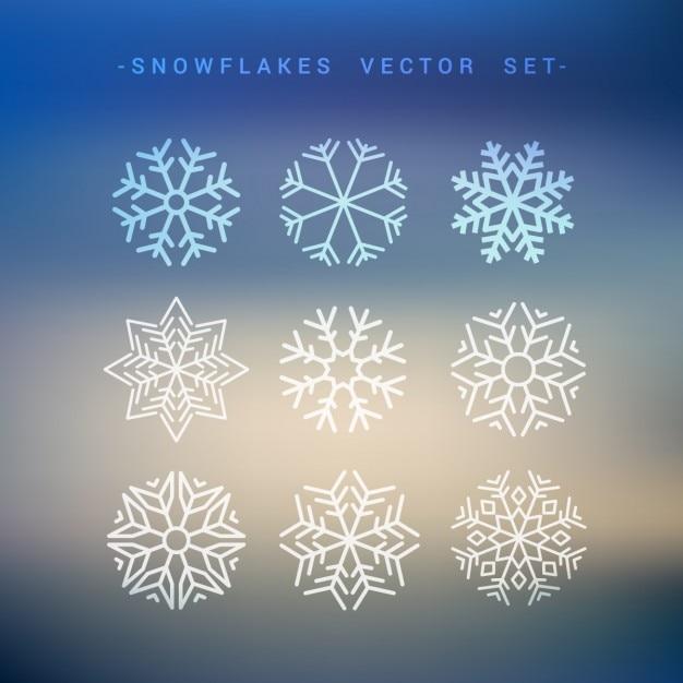 Sneeuwvlokken collectie Gratis Vector