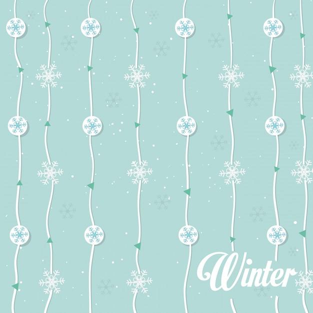 Sneeuwvlokken garland naadloze patroon Gratis Vector
