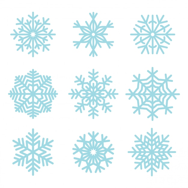Sneeuwvlokken illustratie set Gratis Vector