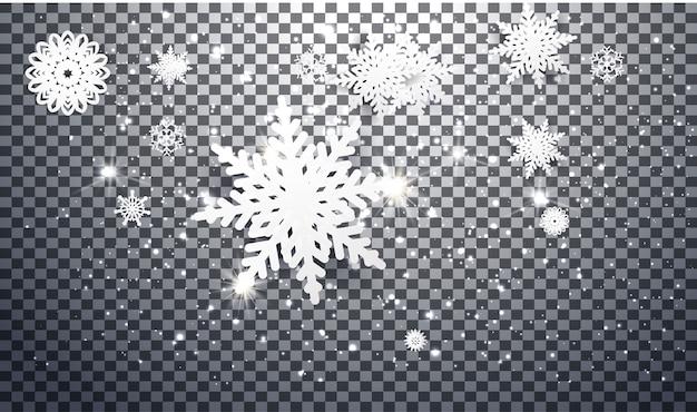 Sneeuwvlokken ontwerpen voor de winter met plaats tekst ruimte. abstract papier ambachtelijke sneeuwvlokken Premium Vector