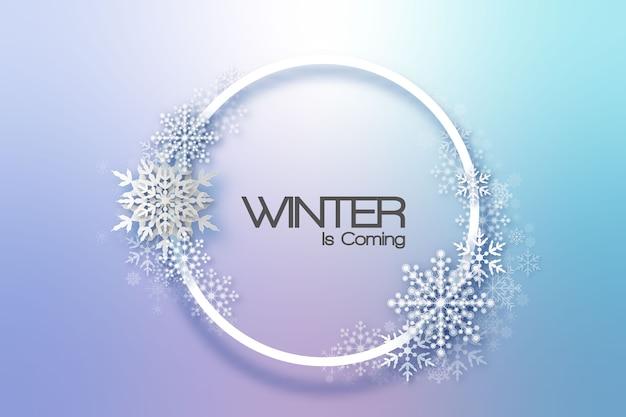 Sneeuwvlokken vakantie frame. winter kerstkaart voor web, banner, uitnodiging, folder enzovoort. kerst achtergrond. Premium Vector