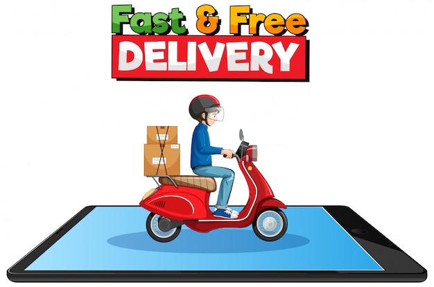 Snel en gratis bezorglogo met fietsman of koerier Gratis Vector