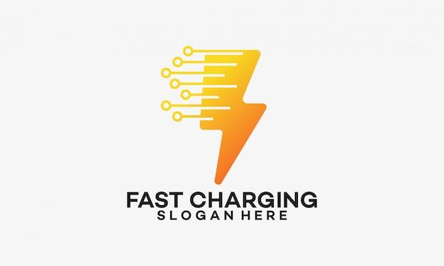 Snel opladen logo sjabloon met thunder-symbool Premium Vector