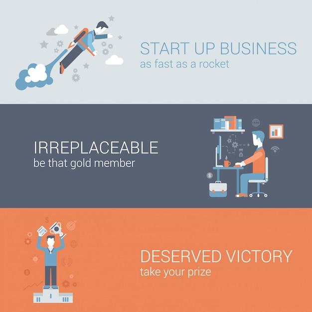 Snel startend bedrijf, werk hard outsourcing, win pictogrammen in te stellen. Gratis Vector