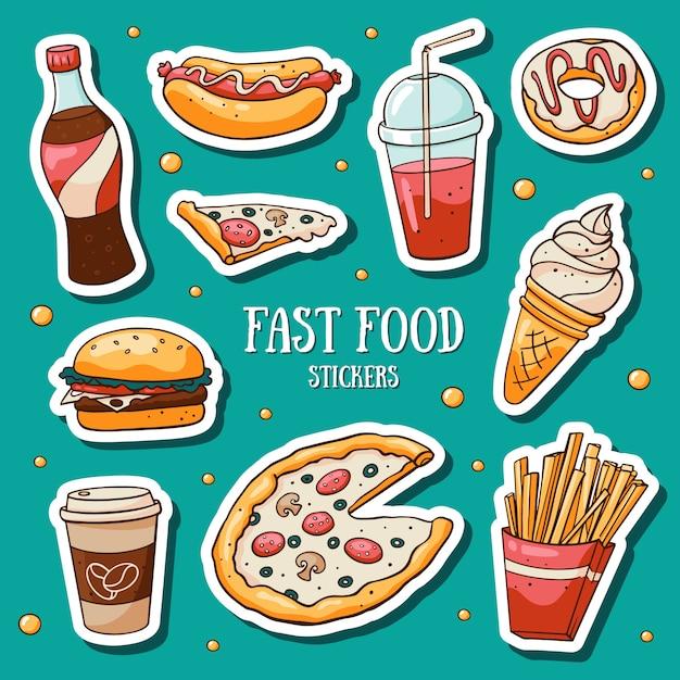 Snel voedselstickers die op blauwe achtergrond worden geplaatst Premium Vector
