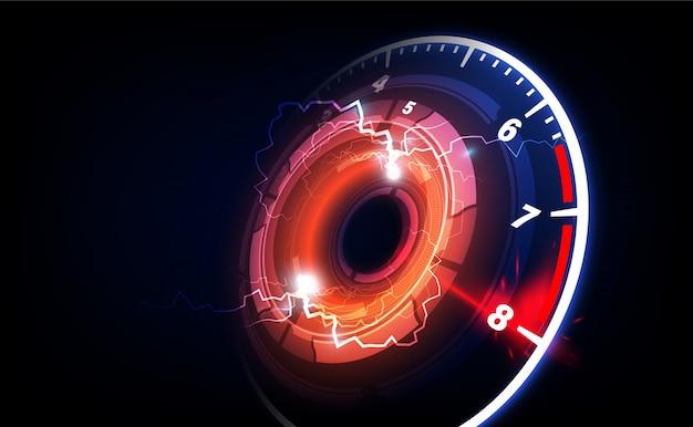 Snelheid beweging achtergrond met snelle snelheidsmeter auto Premium Vector