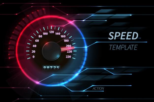 Snelheid beweging lijn vector abstracte tech met auto race snelheidsmeter Premium Vector