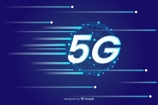 Snelheid internet macht op 5g concept achtergrond Premium Vector
