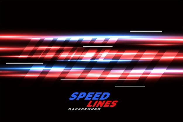 Snelheid racende achtergrond met rode en blauwe gloeiende lijnen Gratis Vector