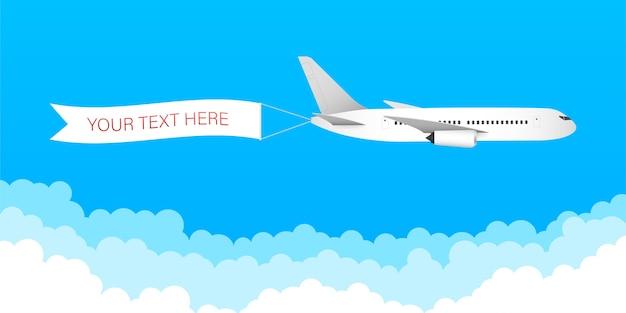 Snelheid vliegtuig vliegtuig jet met reclame banner lint in de bewolkte hemel Premium Vector