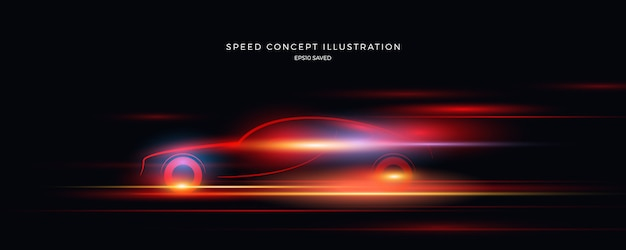 Snelheidsillustratie, snelle achtergrond Premium Vector