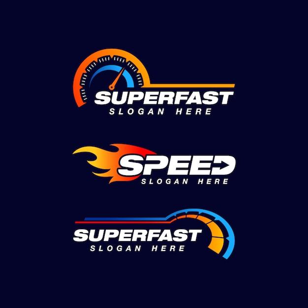 Snelheidsindicator vector logo ontwerp Premium Vector