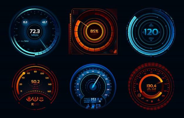 Snelheidsmeter indicatoren. vermogensmeters, snelle of trage internetverbinding snelheidsmeter stadia Premium Vector