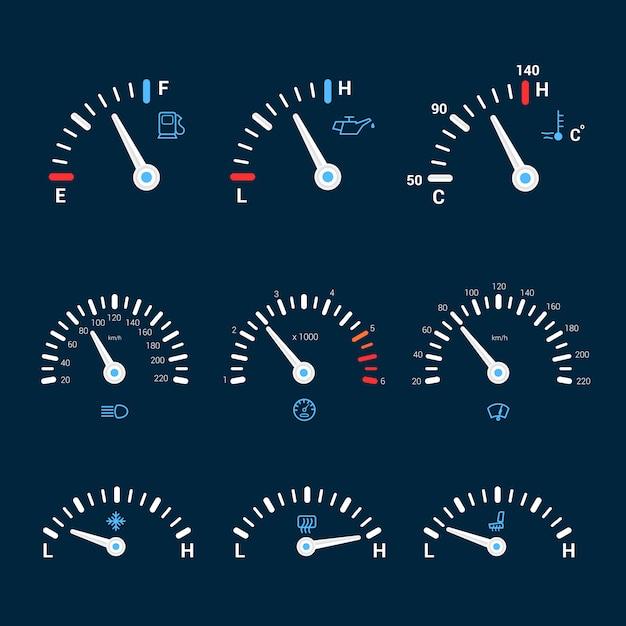 Snelheidsmeter interface pictogrammen Gratis Vector