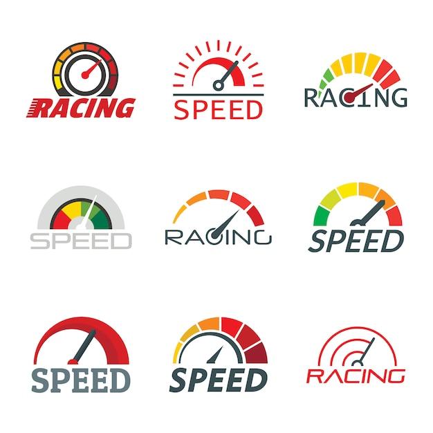 Snelheidsmeter niveau-indicator logo set Premium Vector