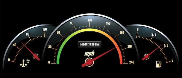 Snelheidsmeter paneel. zwart paneel temperatuurmeting, snelheid en brandstof met felgekleurde schalen. Gratis Vector