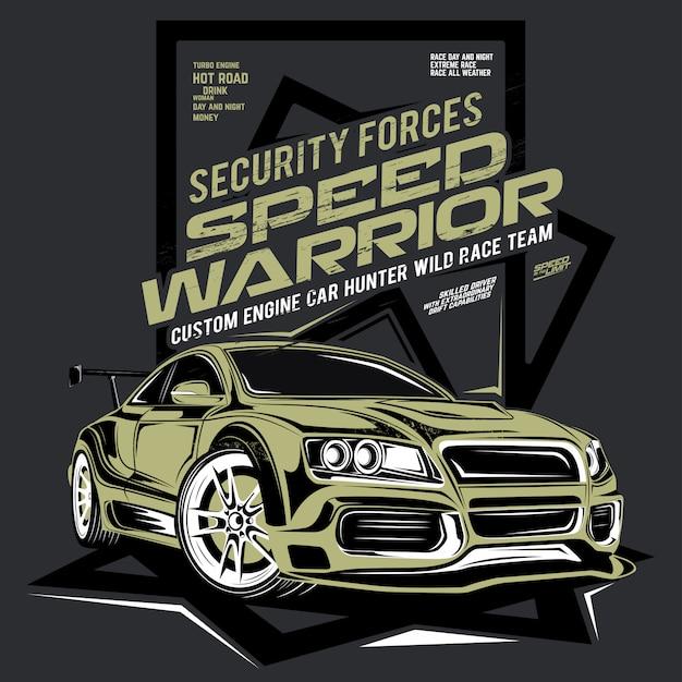 Snelheidsstrijder, illustratie van super snelle auto Premium Vector