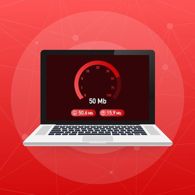 Snelheidstest op laptop. snelheidsmeter internetsnelheid 50 mb. website snelheid laadtijd. Premium Vector