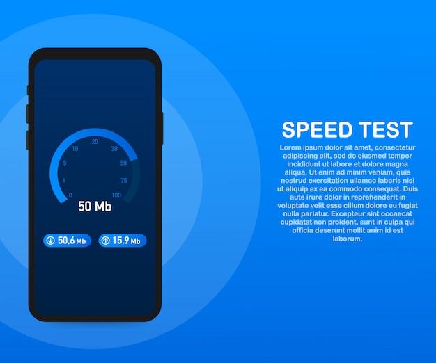 Snelheidstest op smartphone. snelheidsmeter internetsnelheid 50 mb. website snelheid laadtijd. . Premium Vector