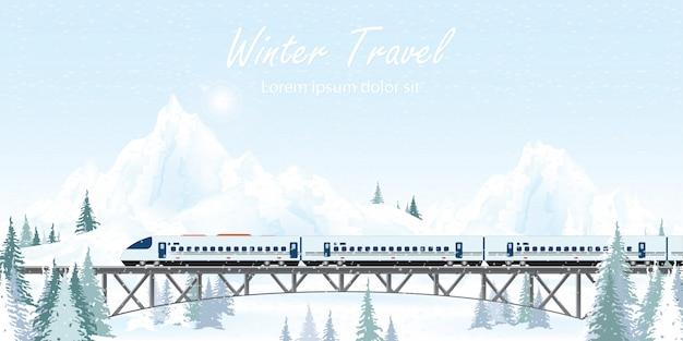 Snelheidstrein op spoorwegbrug op de winterlandschap. Premium Vector