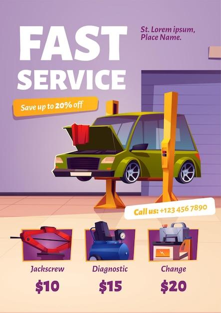 Snelle autoservice-poster Gratis Vector
