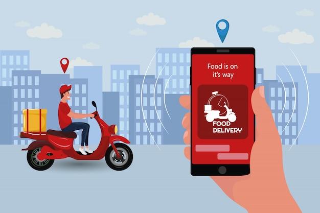Snelle en gratis levering per scooter. Premium Vector