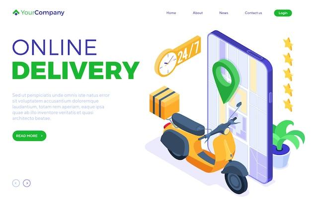 Snelle en gratis online eten bestellen en pakketbezorgservice. fast food verzending. Premium Vector